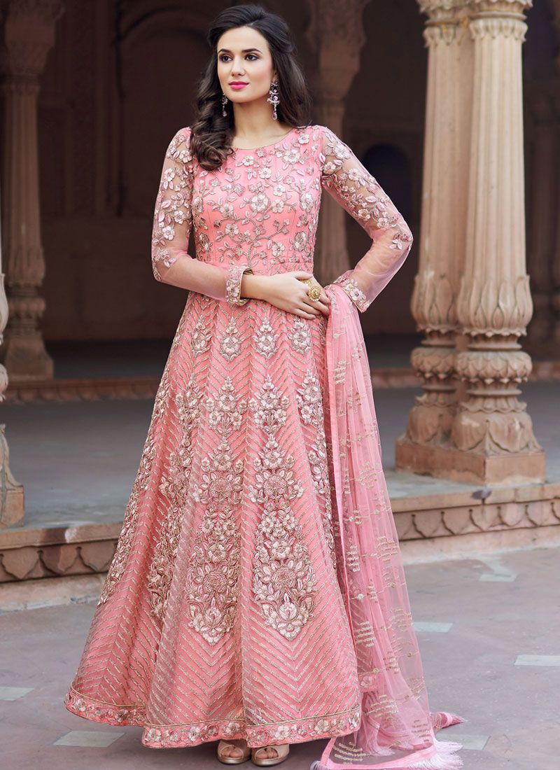 Pink Embroidered Reception Floor Length Anarkali Suit