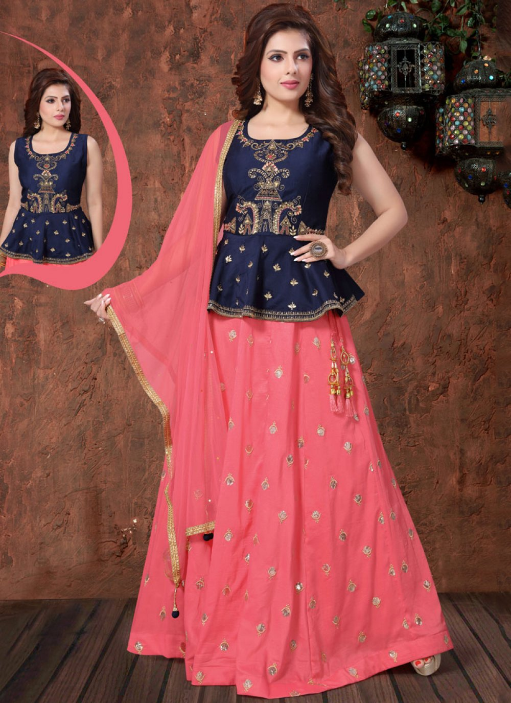 Pink Embroidered Sangeet Readymade Lehenga Choli