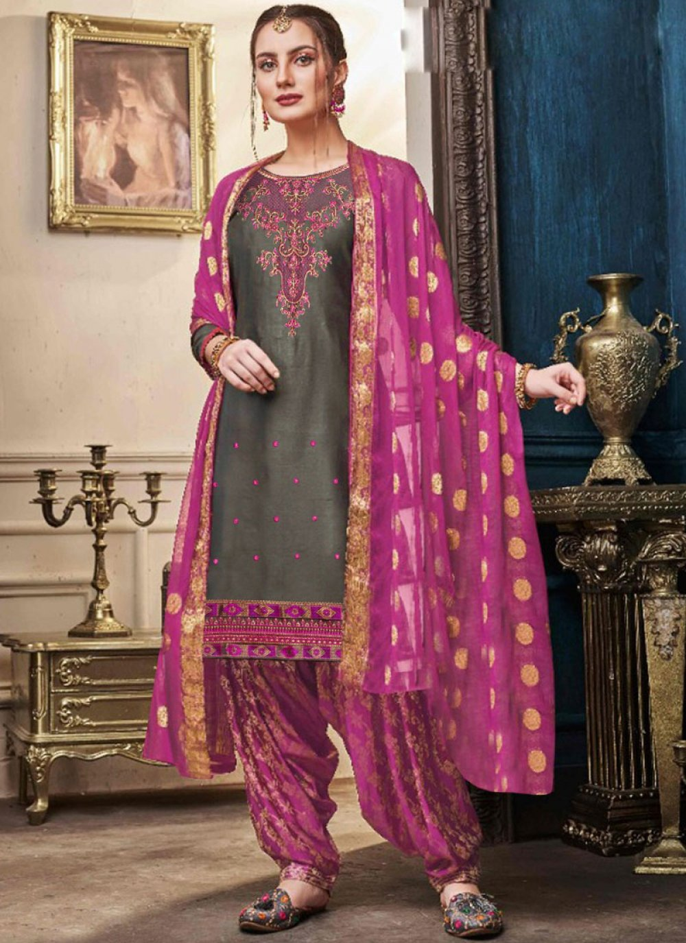 Pink Embroidered Satin Designer Patiala Suit