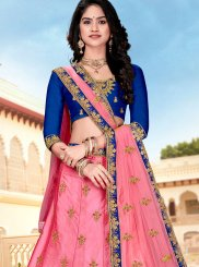 Pink Embroidered Satin Silk Designer A Line Lehenga Choli