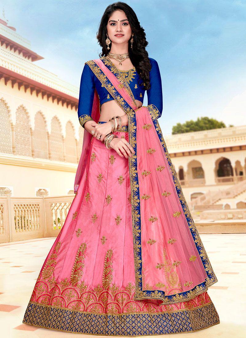 Pink Embroidered Satin Silk Designer A Line Lehenga Choli