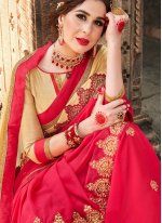 Pink Embroidered Shaded Saree