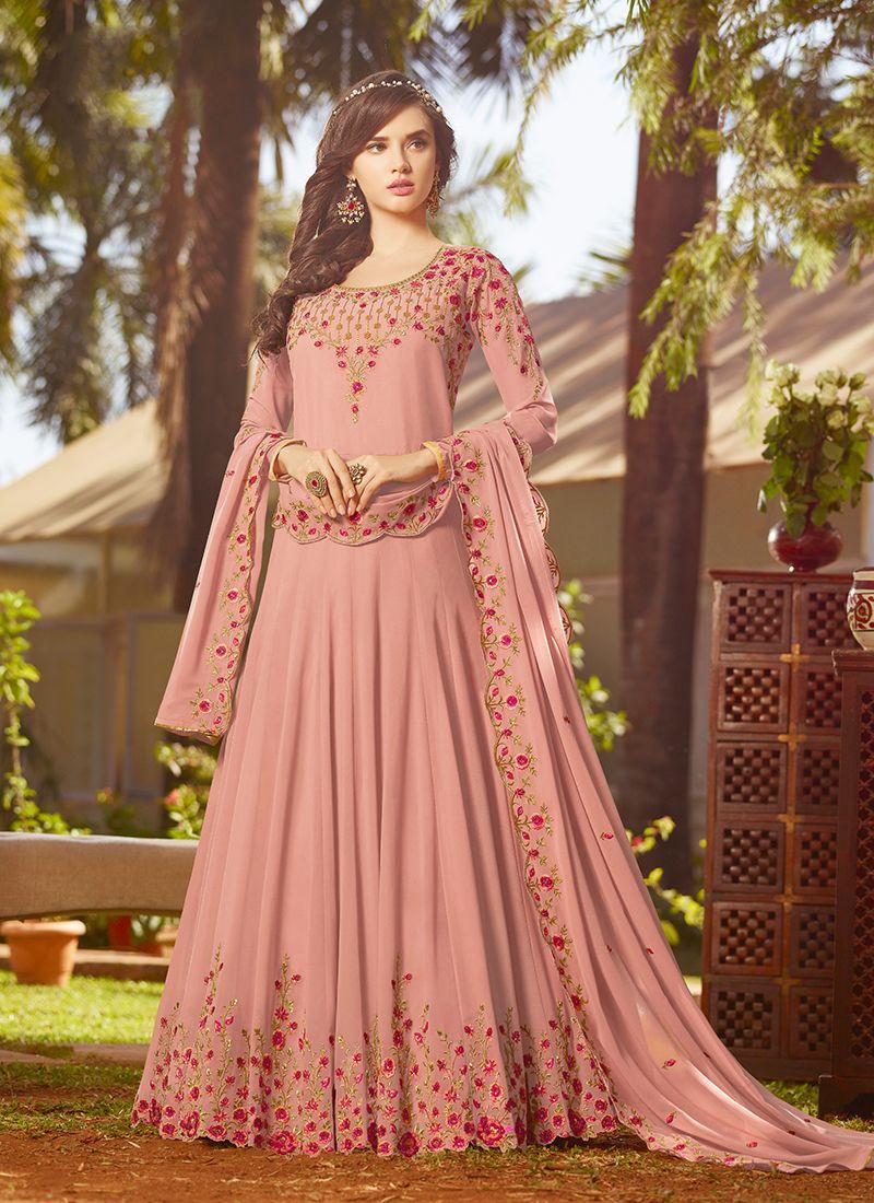 Pink Embroidered Wedding Anarkali Suit