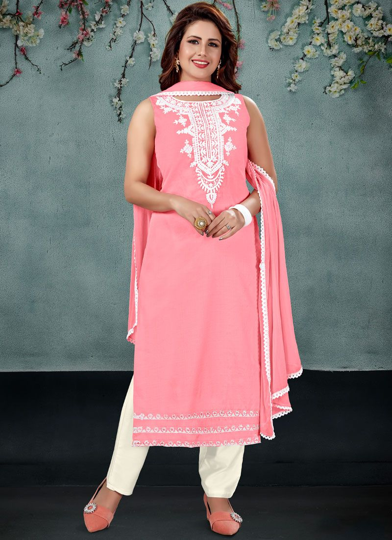 Pink Embroidered Wedding Readymade Suit