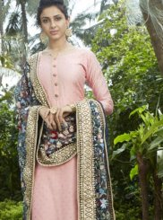 Pink Fancy Art Silk Readymade Suit