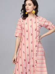 Pink Fancy Cotton Party Wear Kurti