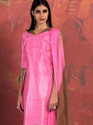 Pink Fancy Fabric Abstract Print Churidar Suit