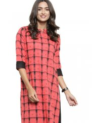 Pink Fancy Fabric Casual Kurti