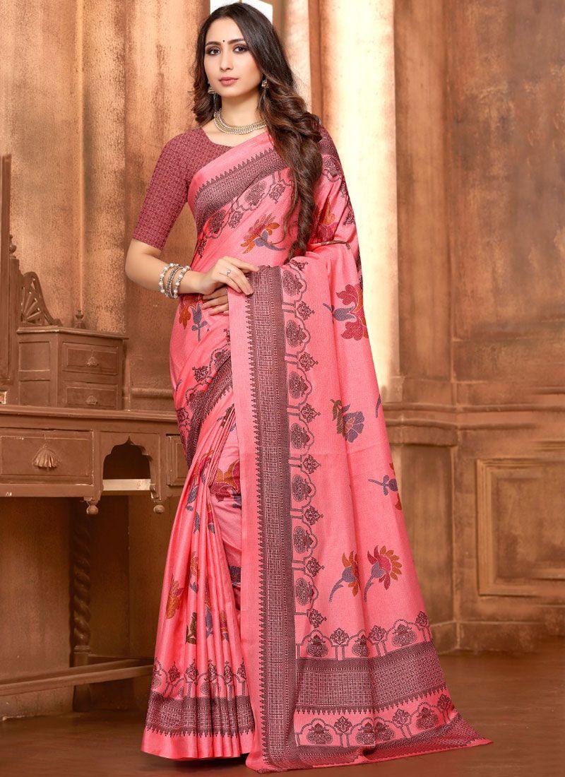 0da6fef802 Shop Online Pink Fancy Fabric Printed Saree : 112607 -