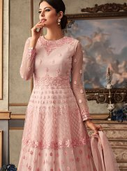 Pink Fancy Fabric Reception Floor Length Anarkali Suit