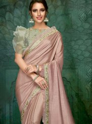 Pink Fancy Georgette Satin Classic Designer Saree