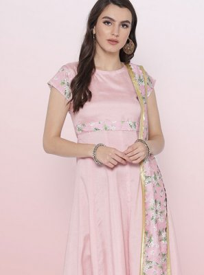 Pink Fancy Poly Silk Party Wear Kurti