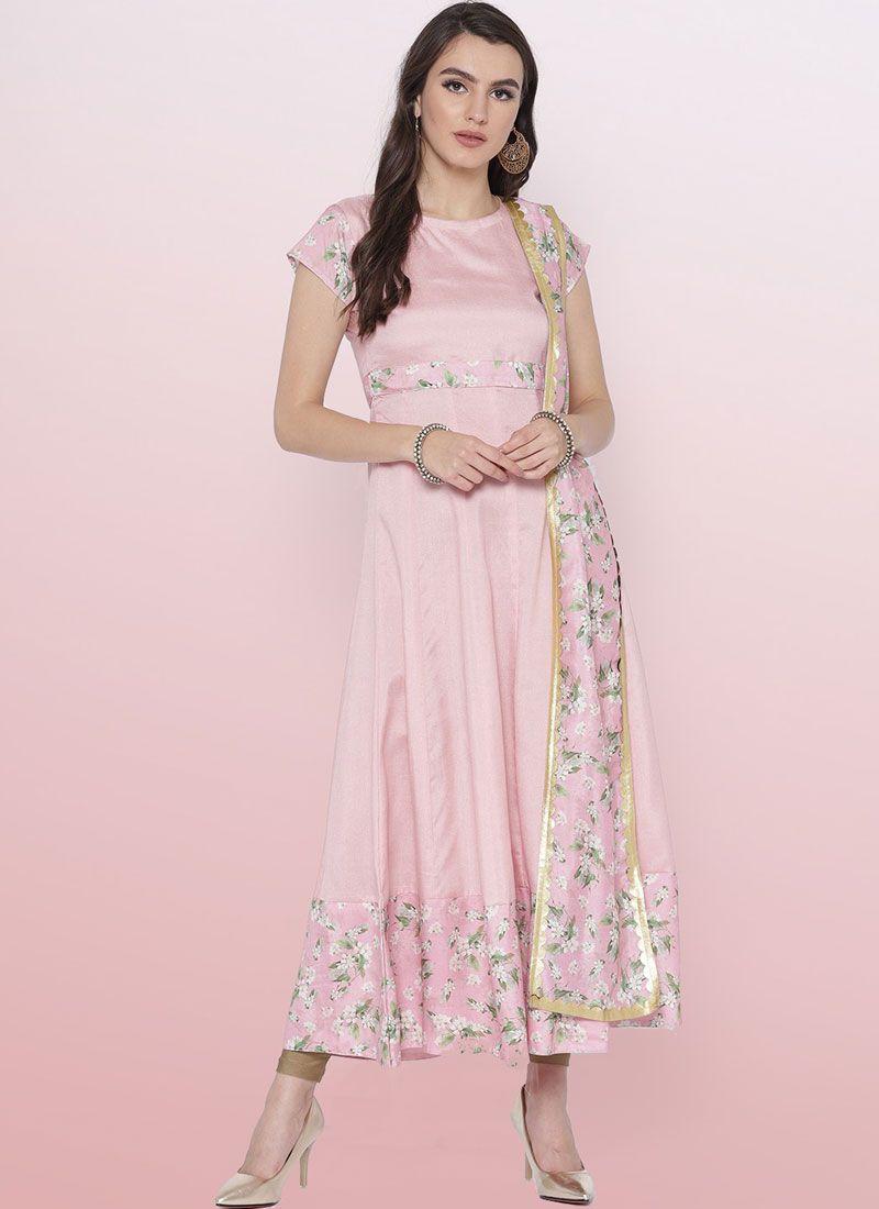 Pink Fancy Poly Silk Party Wear Kurti
