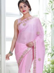 Pink Faux Crepe Classic Saree