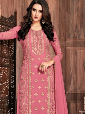 Pink Faux Georgette Ceremonial Pant Style Suit
