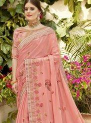 Pink Faux Georgette Classic Designer Saree