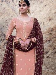 Pink Faux Georgette Designer Palazzo Suit