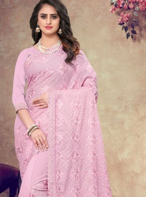 Pink Faux Georgette Embroidered Saree