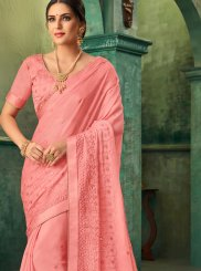 Pink Faux Georgette Embroidered Traditional Saree