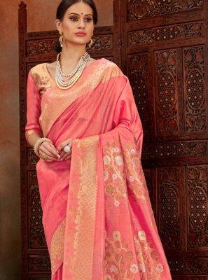 Pink Festival Art Silk Designer Traditional Saree