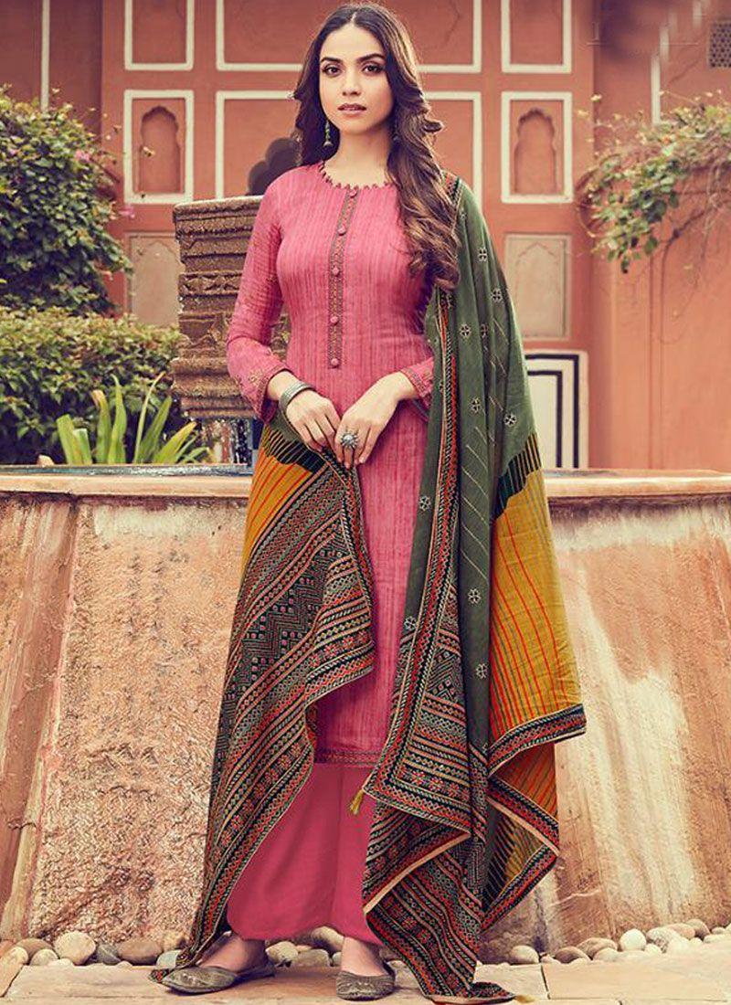 Pink Festival Cotton Designer Palazzo Suit
