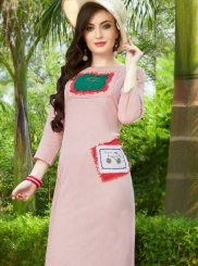 Pink Festival Cotton Party Wear Kurti