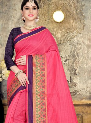 Pink Festival Cotton Saree
