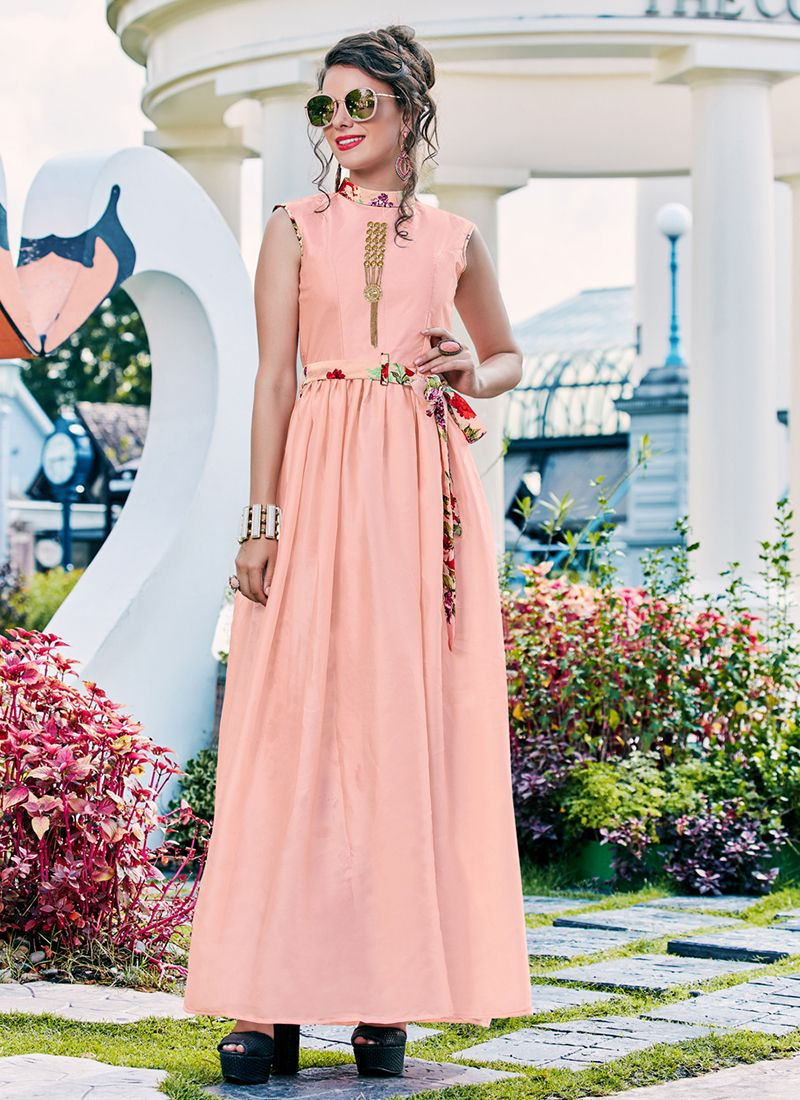 Pink Festival Crepe Silk Readymade Gown