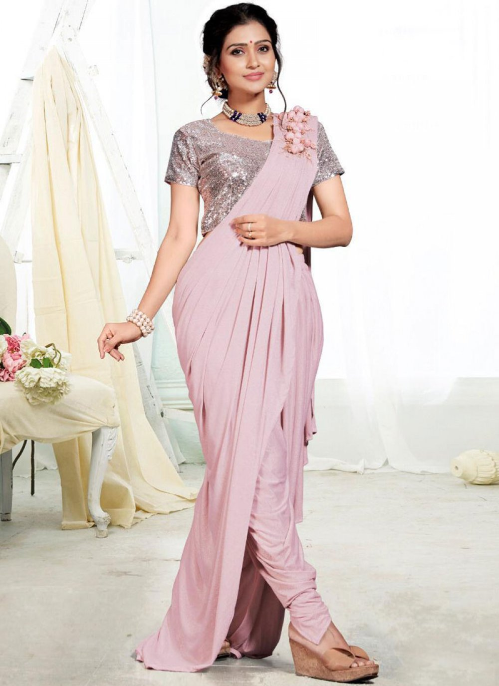Pink Festival Designer Saree