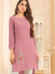 Pink Festival Faux Georgette Party Wear Kurti