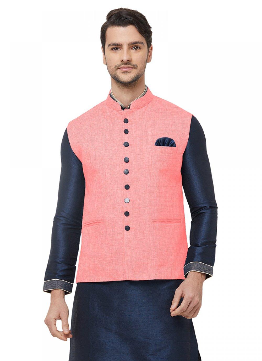 Pink Festival Jute Nehru Jackets