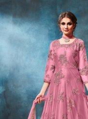 Pink Festival Net Anarkali Salwar Kameez