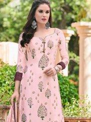 Pink Festival Satin Designer Salwar Kameez