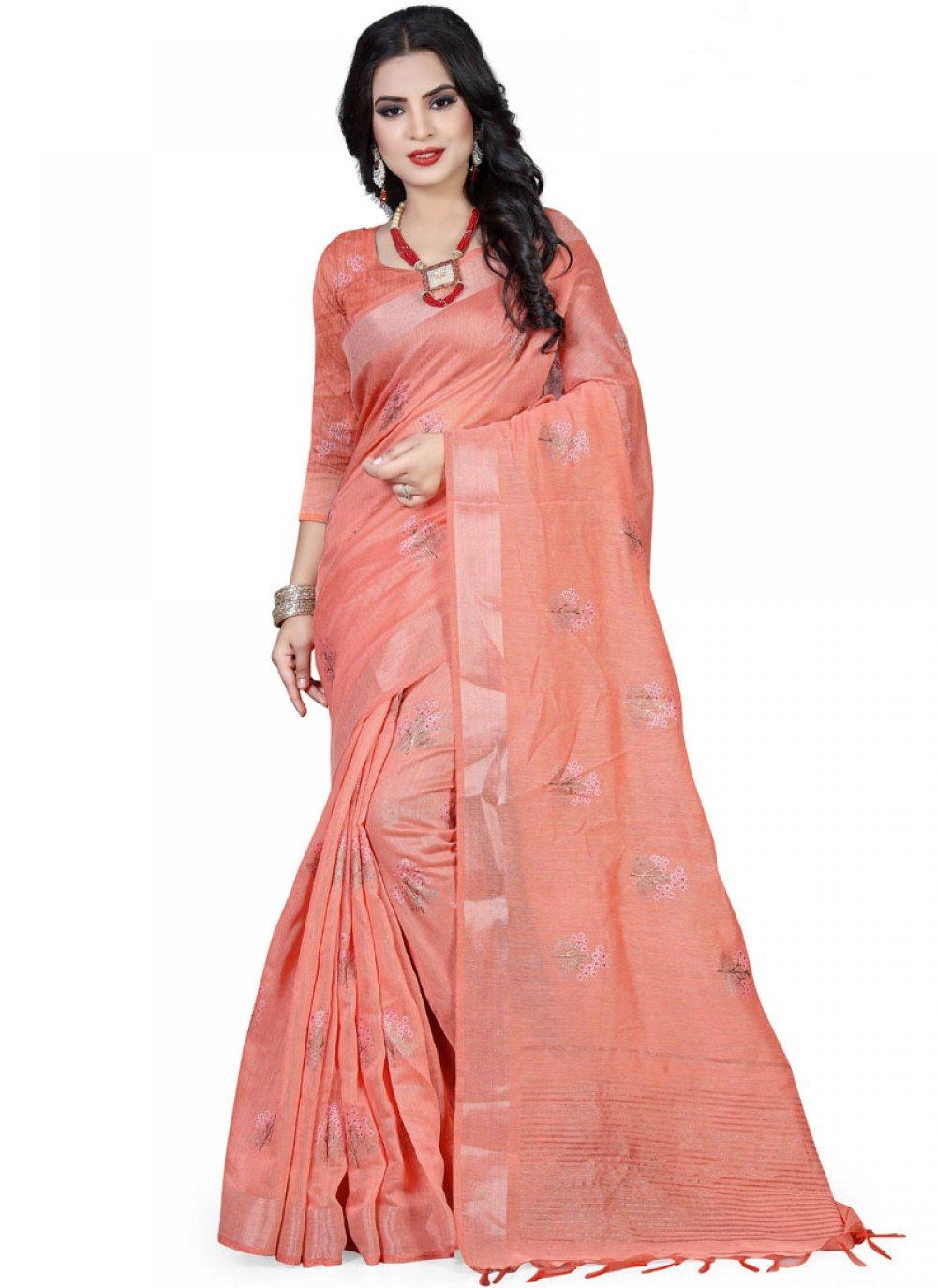 Pink Foil print Festival Saree