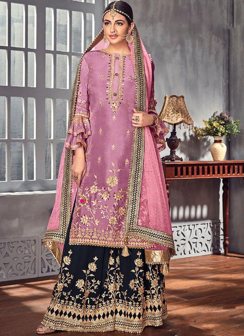 Pink Georgette Designer Palazzo Salwar Suit