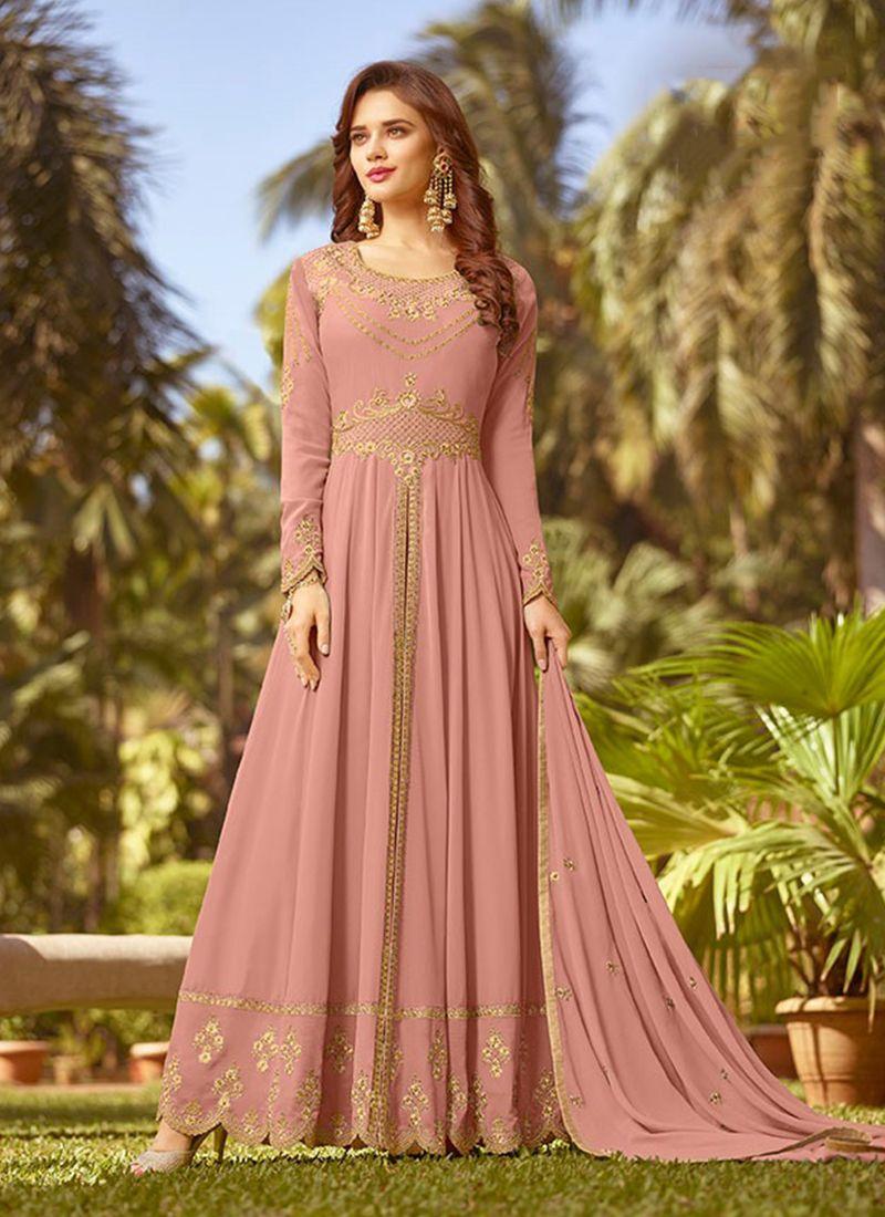Pink Georgette Mehndi Designer Salwar Kameez