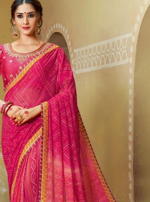 Pink Georgette Printed Saree