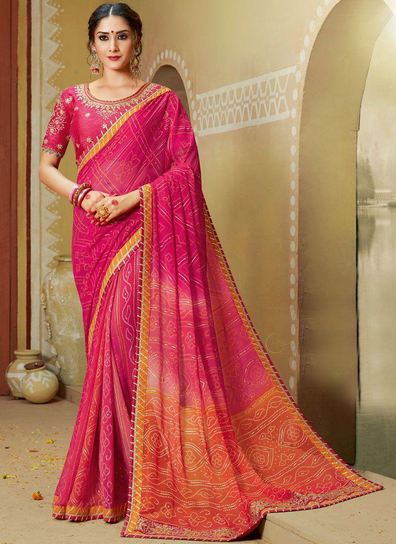 Pink Georgette Printed Saree