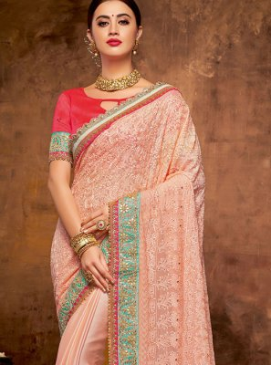 Pink Georgette Satin Classic Saree