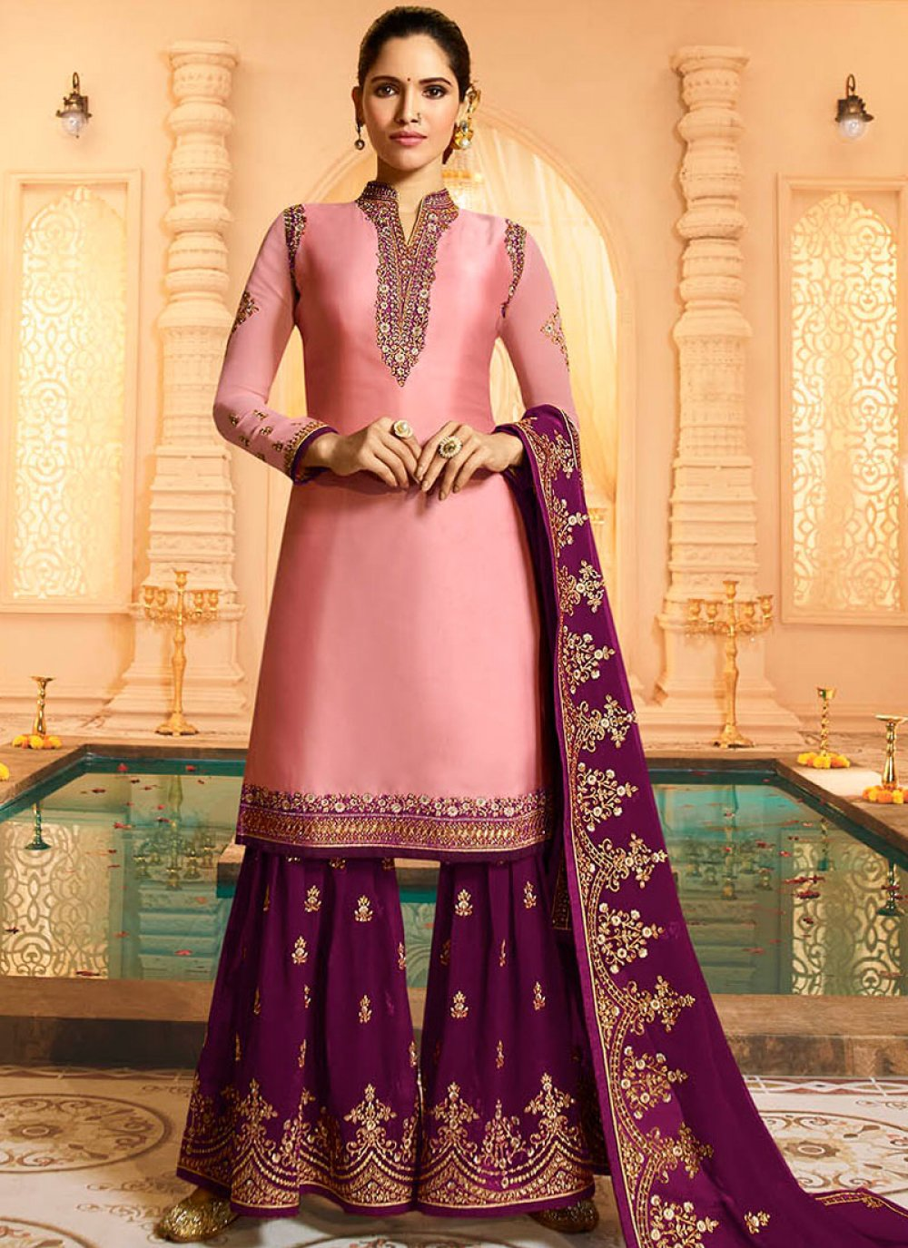 Pink Georgette Satin Designer Pakistani Suit
