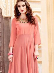 Pink Georgette Satin Embroidered Party Wear Kurti