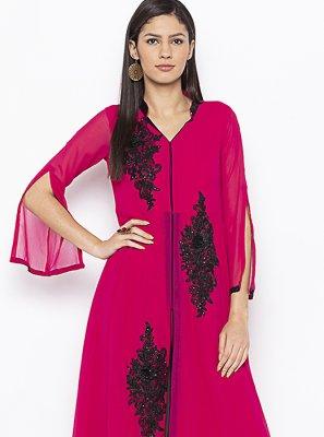 Pink Georgette Weaving Designer Kurti
