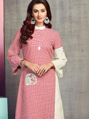 Pink Handloom Cotton Festival Party Wear Kurti