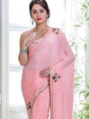 Pink Handwork Faux Chiffon Classic Saree
