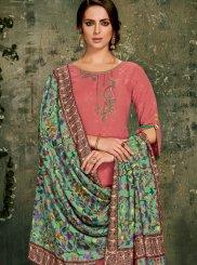 Pink Jacquard Palazzo Salwar Suit