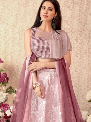 Pink Jacquard Silk Party Designer Lehenga Choli