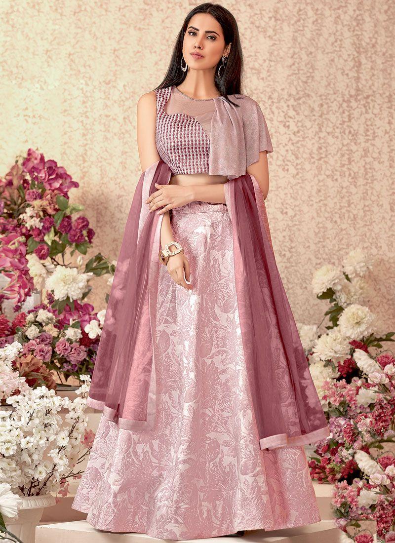 Pink Jacquard Silk Party Designer Lehenga Choli