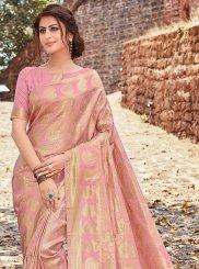 Pink Jacquard Silk Weaving Designer Traditional Saree