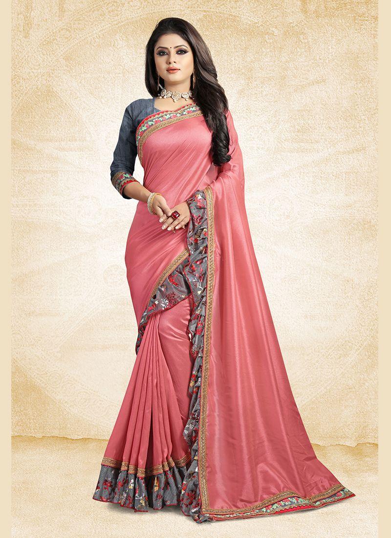 Pink Lace Art Silk Traditional Designer Saree