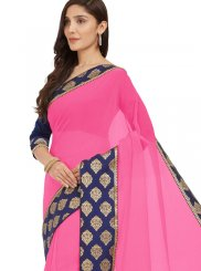 Pink Lace Casual Saree